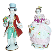 Frankenthal German  Dresden Art Lace Hand Painted Figurines Gentleman & Lady Friedrich Wilhelm Wessel