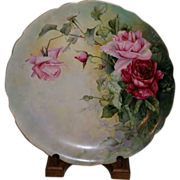 Exquisite 11.5 inch Jean Pouyat Limoges Charger Pink & Burgundy Roses Hand Painted Signed E. J. Hutchinson