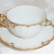 Antique B & H Blakeman & Henderson Limoges Ornate Cup & Saucer