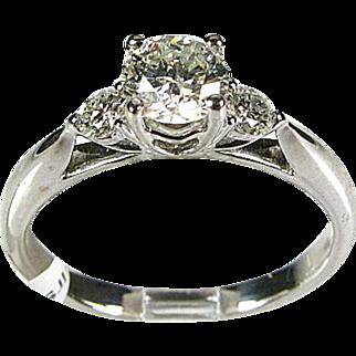 18k White Gold Natural .75ctw Round Cut SI-2/H Diamond Ring