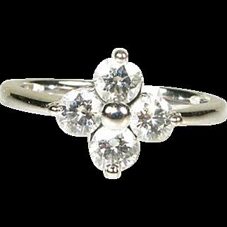 14k White Gold Natural .75ctw Round Cut VS/GH Diamond Cluster Ring