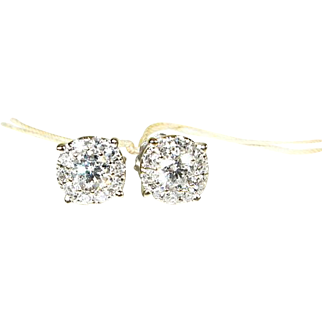 14k White Gold Natural 1ctw Micro Pave SI-1/GH Diamond Stud Earrings