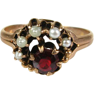 Victorian 1800's Genuine Ruby and Seed Pearl 14k Rose Gold Ring
