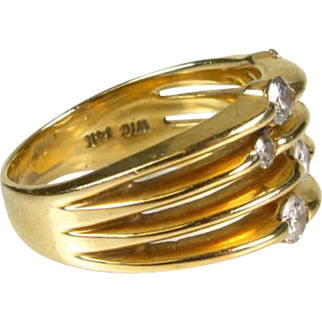 14k Yellow Gold Natural .70ctw Round Cut SI/GH Diamond 4 Band Ring