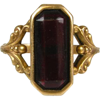 Antique Victorian 1ct Fancy Cut Natural Dark Garnet 14k Rose Gold Ring.