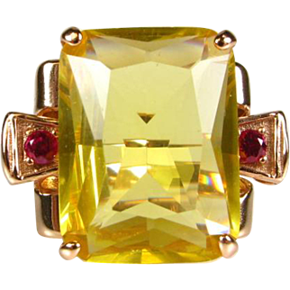 Retro 14k Rose Gold/Sterling 30ct Citrine and  Ruby Ring