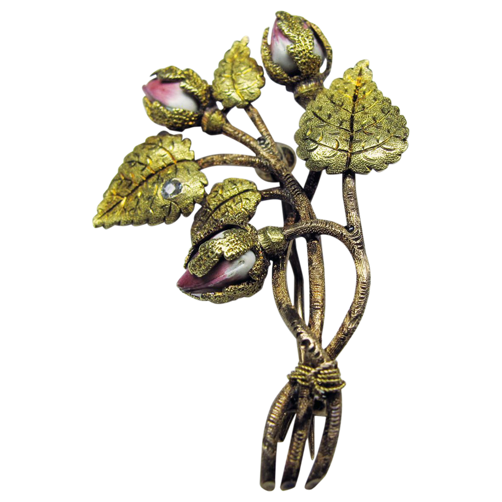 Stunning Antique Enameled Art Nouveau 14K/18K Floral Pin with Diamond