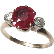 Beautiful Antique Victorian 14K Yellow Gold Synthetic Ruby & Diamond Ring
