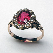 Beautiful 10K Rose Gold Victorian Garnet & Glass Doublet Ring with Halo of Seed Pearls