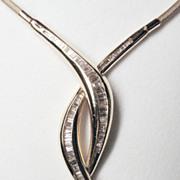 Vintage 14K Yellow Gold & Diamond Free-form Necklace