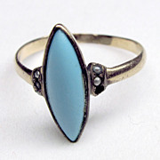Antique Victorian 10K Turquoise Ring with Seed Pearls