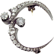 """Unusual Victorian Mourning Sterling Silver over 14K Gold & Diamond Crescent """"Honeymoon"""" Brooch"""