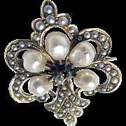 Antique Fleur De Lis 14K Yellow Gold Early Victorian Seed Pearl & Diamond Pin/Watch Holder Brooch