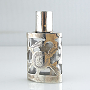 Antique Sterling Silver Engraved Glass Perfume Bottle