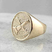 Unusual And Heavy Signet Ring With Fireman's Horns