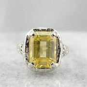 Golden Yellow Sapphire And Art Deco Filigree Ladies Ring