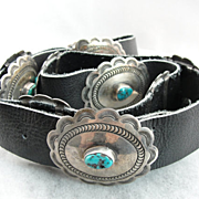 Vintage Turquoise Concho Belt, Native American Silver and Black Leather