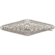 Art Deco estate  platinum & 18k yellow gold  diamond brooch Circa1920's.