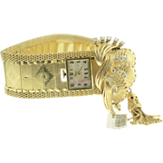 Vintage 14K yellow gold & diamond bracelet watch