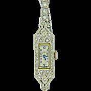 Art Deco Ladies Bulova 14K White Gold & Diamond Watch
