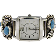 Vintage Ladies sterling silver & turquoise Navajo  watch band