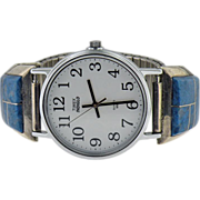 Vintage sterling & lapis  Navajo watch band with Timex indiglo watch