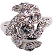 Platinum Vintage Diamond Ring Approx. 0.77cttw.