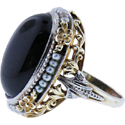 "Victorian 14K yellow gold Black Onyx And Seed Pearl Ring 1890""s"