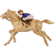18K & Enamel Custom Race Horse & Jockey Brooch Vintage Circa 1940's to 1950's.