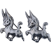 Vintage Sterling Silver Pair of Donkey Pins,  Mexico