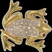 14K Yellow Gold & Pave' Diamond Vintage  Frog Pin & Pendant