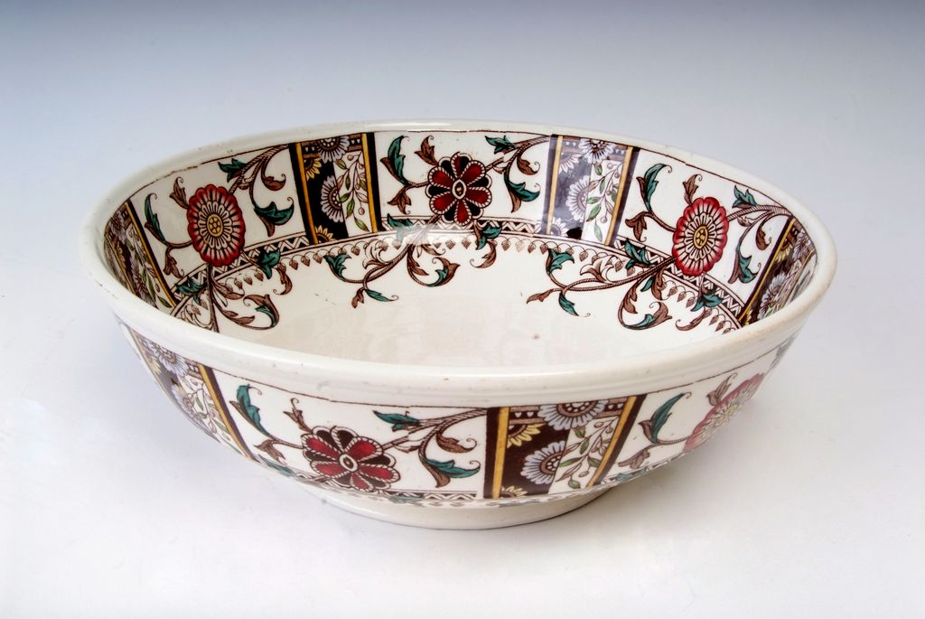 Buckingham Bowl with Earth-Tone Flowers English Circa 1880's