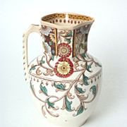 Buckingham Pitcher with Earth Tone Designs Circa 1880