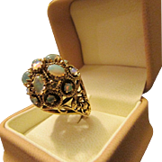50s or 60s Chunky Vingtage Opal Dome Ring