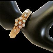 Vintage Opal and 14 Karat Gold Hinged Bracelet with Florentine Finish