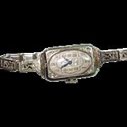 18 Kt Gold Art Deco Ladies Elgin Enameled Wristwatch  Antique Filigree Band