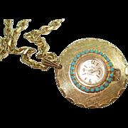 "Ladies Vintage Turquoise Pendant Watch 17 Jewel Mechanical 36"" Chain"