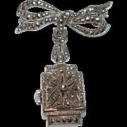 Bucherer Vintage Silver Marcasite Peek a boo Flip Top Lapel Watch