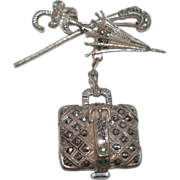 Parasol Carpet Bag Sterling Silver Marcasite Vintage Lapel Watch Mary Poppins