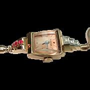 14 Kt Rose Gold Ruby Diamond Bulova  Art Deco Ladies Wristwatch 14Kt Band