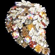 Fabulous SPHINX Signed Tiered Canary Multi-colour Rhinestone Vintage Leaf Brooch