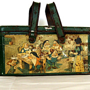 1938 Vintage Snow White tin basket