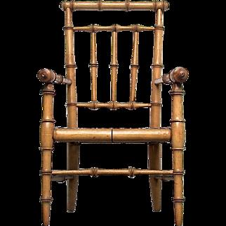 Fine Original 19th C Regency Doll-House Faux Bamboo Chair