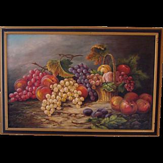 19th C Oil on Canvas Still Life by J. Hamill
