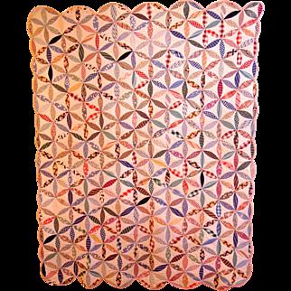 SALE Vintage  Flour Sack  Pieced Quilt in Pinwheel Pattern.