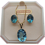 Blue Topaz Pendant Necklace Earrings 14K Gold