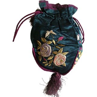 Antique silk embroidered bag
