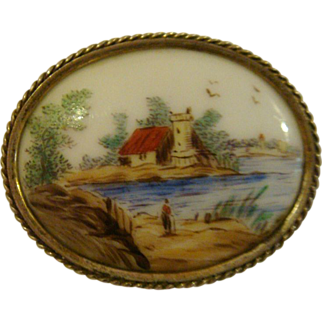 Hand painted miniature porcelain plaque
