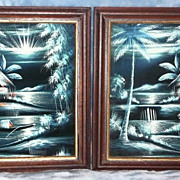 Philippine Acrylic on Velvet - 'Island Scenes (pair)' - ca. early to mid 1980's