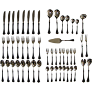 Faux Tortoiseshell Tortoise Shell Silver plate Flatware 52 pieces